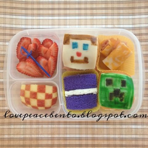 Minecraft....use seaweed for creeper face....and put in cubed meat and cheese....= mine craft lunch!