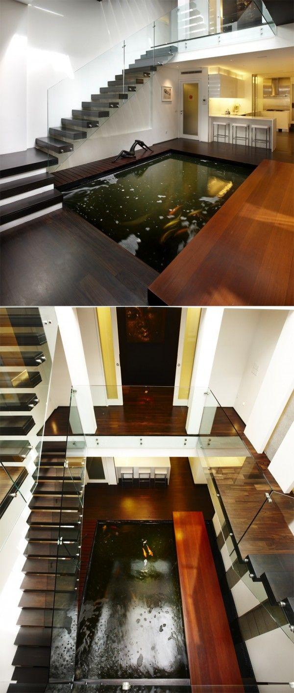 haus designs mit indoor wasser kleingarten holz glas treppe