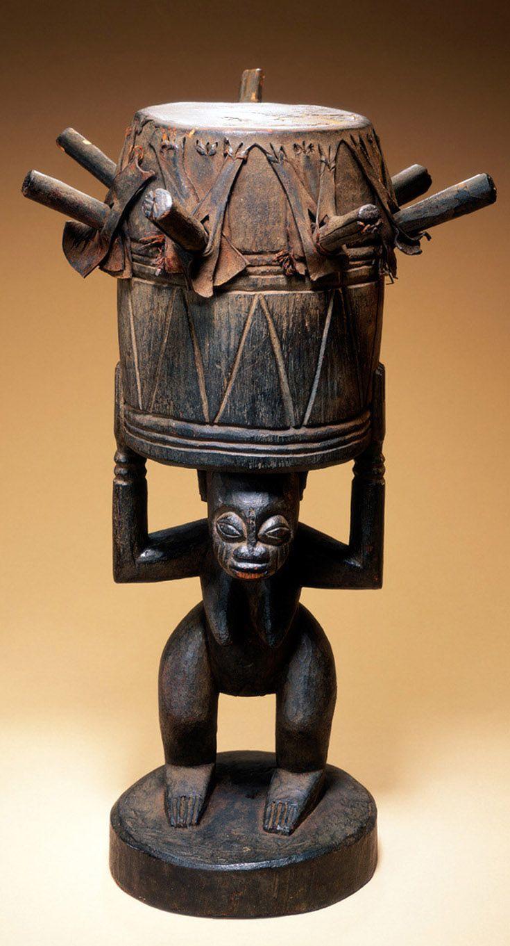 Africa | Drum (ogbin obatala) from the Ijebu-Yoruba people of Nigeria | Wood and hide