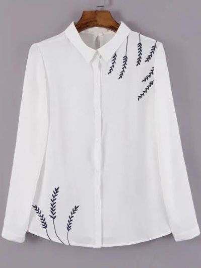 White Lapel Leaves Embroidered Loose Blouse 16.48