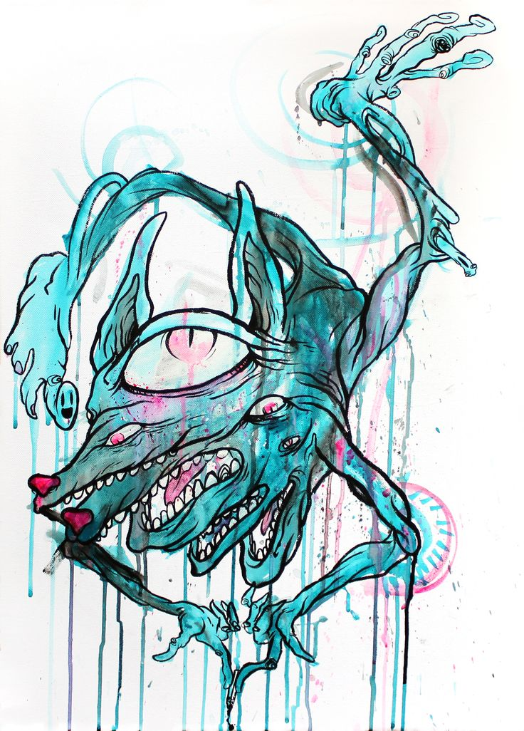livepainting by glönn this surreal monster painting has been created during a gig of the band 'oaked'