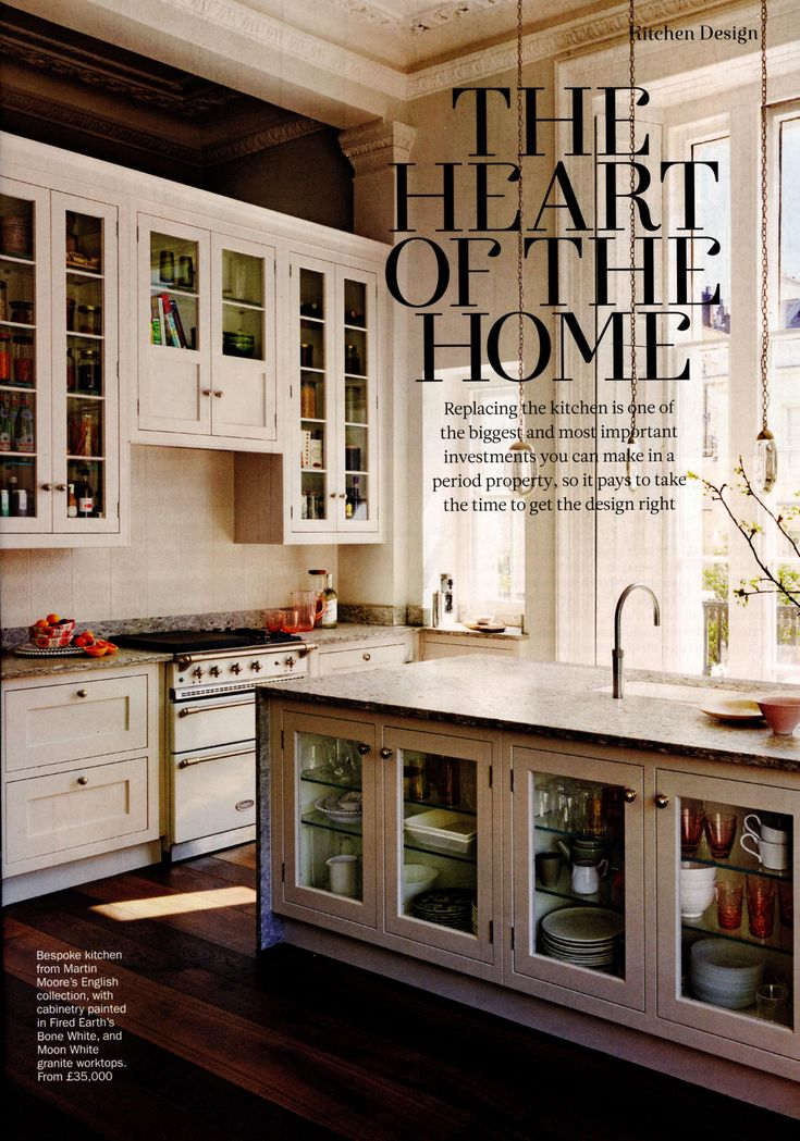 Bespoke kitchen from Martin Moore's English collection. www.martinmoore.com Period Living March 2018