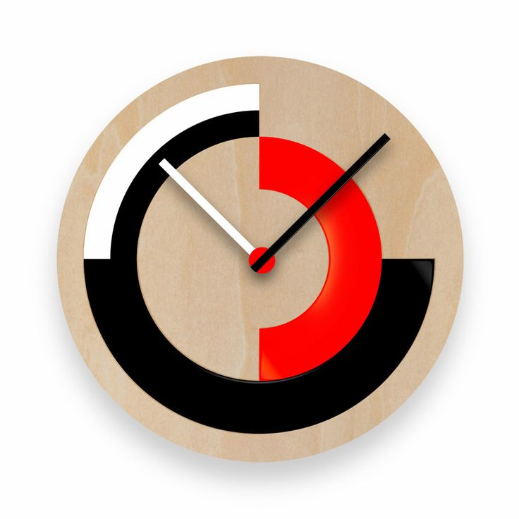 Custom made clock. 90x90, Wood, lacquer. Credited as Designers United