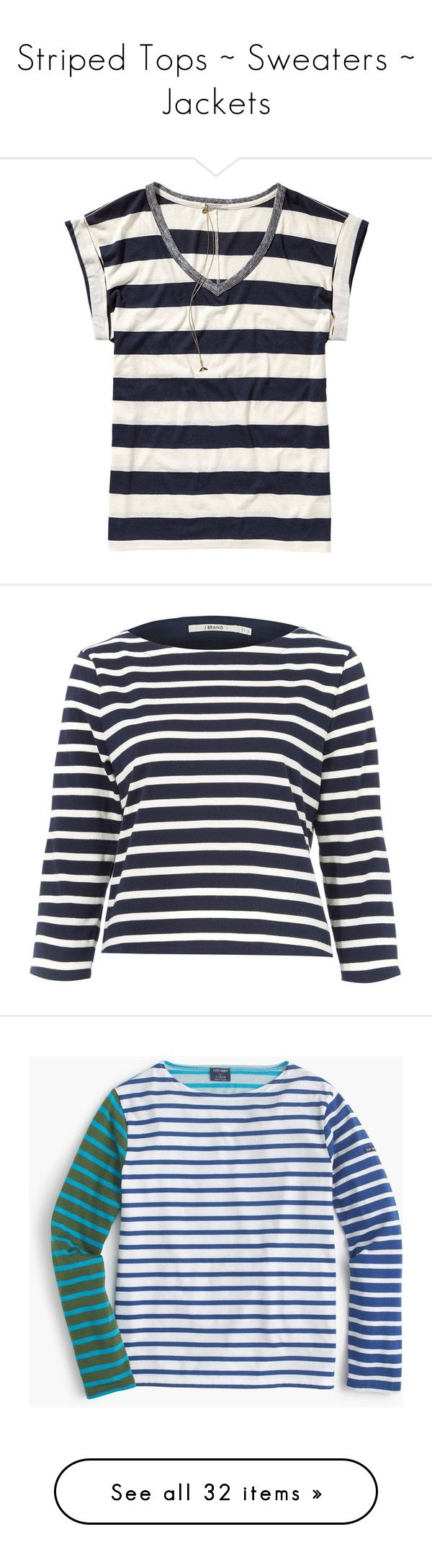 """""""Striped Tops ~ Sweaters ~ Jackets"""" by idocoffee ❤ liked on Polyvore featuring stripes, tops, t-shirts, combo a, slouchy v neck tee, striped v neck t shirt, v neck tee, short sleeve tee, striped t shirt and striped tee"""