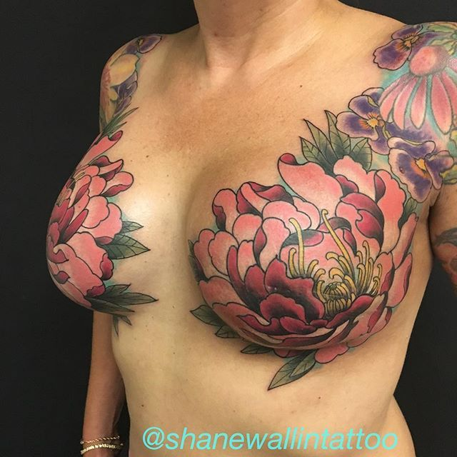 Breast Cancer Survivor Has Hummingbird Tattoo To Cover: A Beautiful Floral Design Completed In One Session. I Love