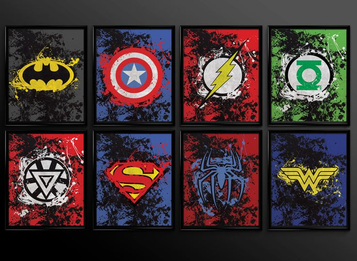Set of 2 prints Superhero Wall Art Decor by TheCuttingEdgeShop