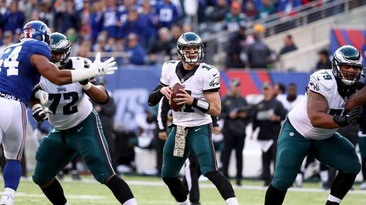 Eagles vs. Giants:  28-23, Giants  -  November 6, 2016  -    Carson Wentz #11 of the Philadelphia Eagles looks to throw a pass against the New York Giants during the first quarter of the game at MetLife Stadium on November 6, 2016 in East Rutherford, New Jersey.