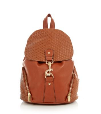 Tan Woven Panel Backpack (new look)