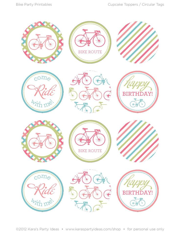 Bicycle Girl Cupcake Topper Printables