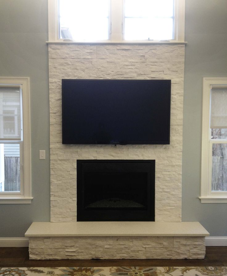 Inspiring White Stone Fireplace With Tv With Double