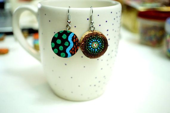 Recycled Wine Cork Earrings - Two Sided - Mandala and Green Dots and Blue Waves on Black