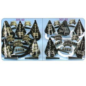 Silver & Gold Party Kit for 50 people. Silver & Gold Party Kit for 50 people.    Contains 25 full size H.N.Y. hats, 25 tiaras with sparkling glitter, 50 horns, 25 Hawaiian poly leis & 200 flame resistant serpentine throws.