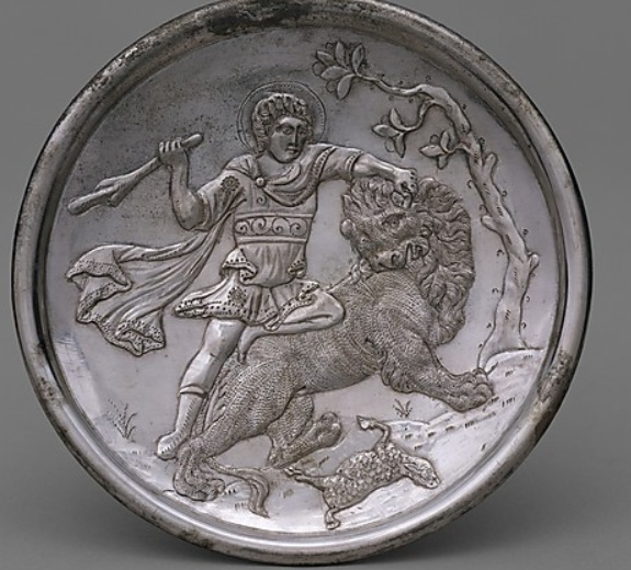 Plate with David Slaying a Lion  629–630AD   Made in Constantinople  http://www.metmuseum.org/Collections/search-the-collections/170004252