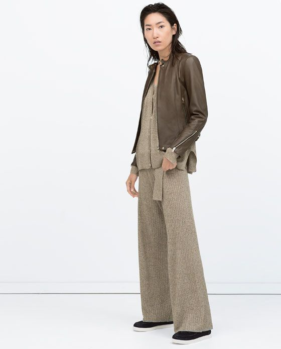 Image 1 of TAB COLLAR LEATHER JACKET from Zara