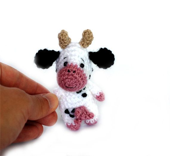 $33.86 amigurumi cow, tiny cow doll, miniature cow, little cow toy, crochet cow plush, mini cow, cow collectible, #dollhouse accessory #mini ornament