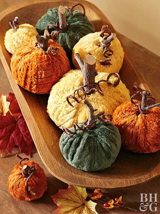 Craft this twist on the velvet pumpkin trend for a sweet Thanksgiving centerpiece.