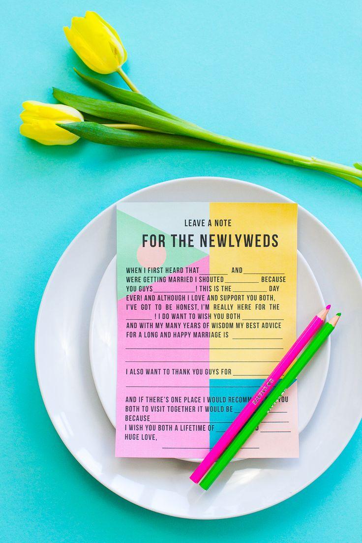 Free printable ad lib mad lib wedding game/ quiz for guests.