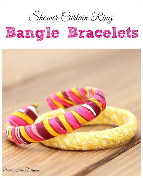 Make Bangle Bracelets from Shower Curtain Rings and Fabric Tape DuckCraftTape