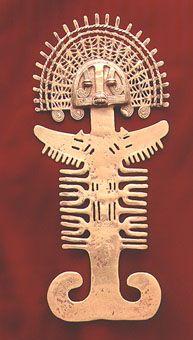 "Gold Anthropomorphic Pectoral - FJ.6239  Origin: Colombia  Circa: 400 AD to 1600 AD  Dimensions: 7.25"" (18.4cm) high x 3.25"" (8.3cm) wide  Collection: Pre-Columbian  Medium: Gold"