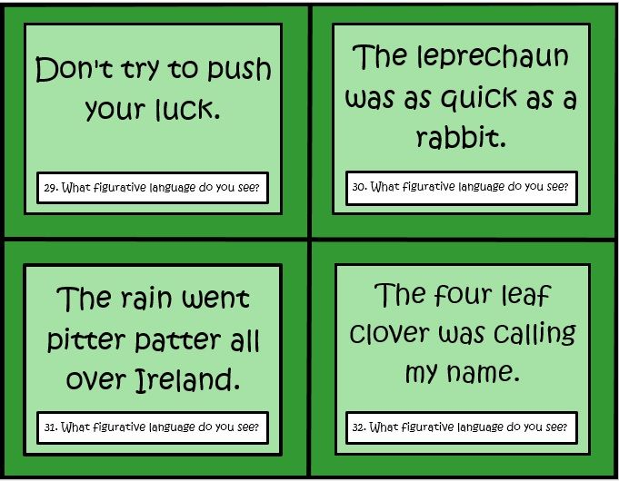 This set of 32 task cards by The Teacher Next Door focus on figurative language using a fun St. Patrick's Day theme. Kids will read the phrase on each card and determine whether it is a simile, idiom, metaphor, hyperbole, alliteration, personification or onomatopoeia.$