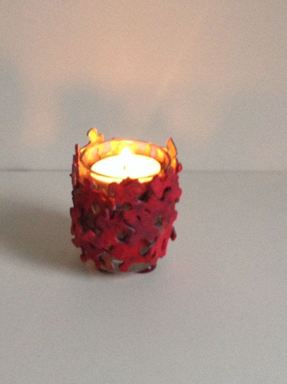 Red Votive Candle Holder made of Jigsaw Puzzle Pieces by SJPuzzles, $20.00