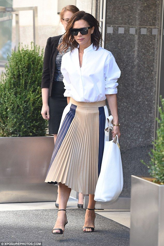 Feeling good: It was no surprise to see Victoria Beckham, 42, leaving her NYC hotel with a spring in her step on Wednesday, after launching her collaboration with Estee Lauder the previous day