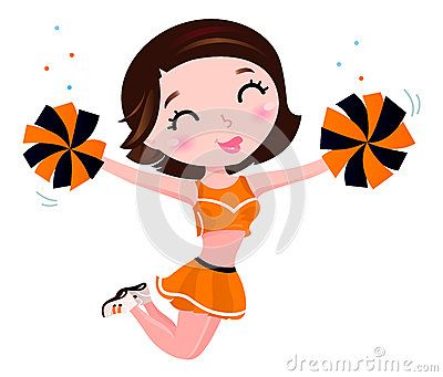 Cute jumping cheerleader woman. Vector