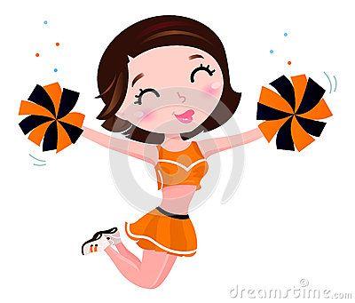 Cute jumping cheerleader woman. Vector
