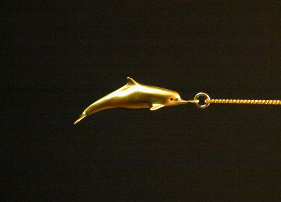 14k Goldplated dolphin nautical necklace summer by jewelsculpts