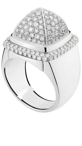Ring Sugarloaf Interchangeable white gold, white diamonds, and gray Sugarloaf Quartz by  FRED jeweler | HT
