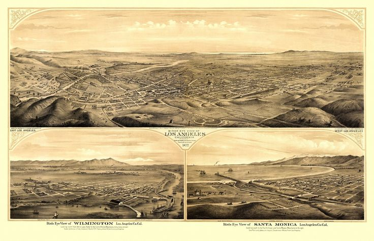 Vintage Map of Los Angeles California 1877 Los Angeles County Poster