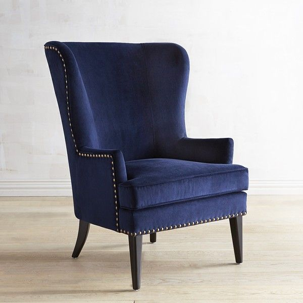 Pier 1 Imports Asher Verse Nailhead Trim Ink Chair ($424) ❤ liked on Polyvore featuring home, furniture, chairs, accent chairs, blue, midcentury modern chair, blue wing chair, velvet accent chair, blue accent chair and stackable chairs