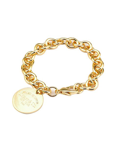 tiffany jewels | Tiffany Jewelry Outlet Bracelets Engraved Round Tag Gold