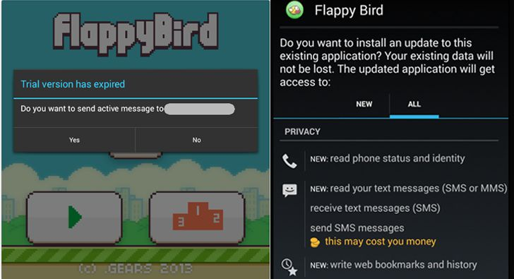 Beware of Fake Flappy Bird app, Many clone apps sends text messages to Premium Number http://thehackernews.com/2014/02/Flappy-Bird-app-download-android-iphone.html #Security