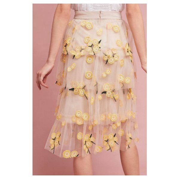 Spring Melody Tulle Skirt Yellow Sunflowers (585 ILS) ❤ liked on Polyvore featuring skirts