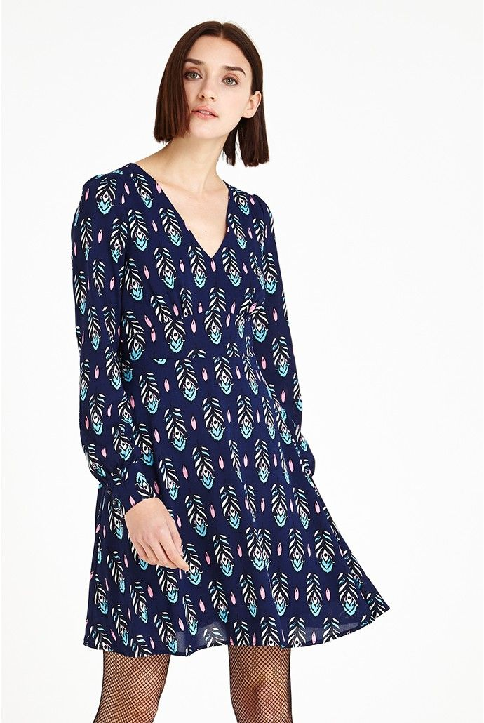 Louche Nelda Feather-Print Dress