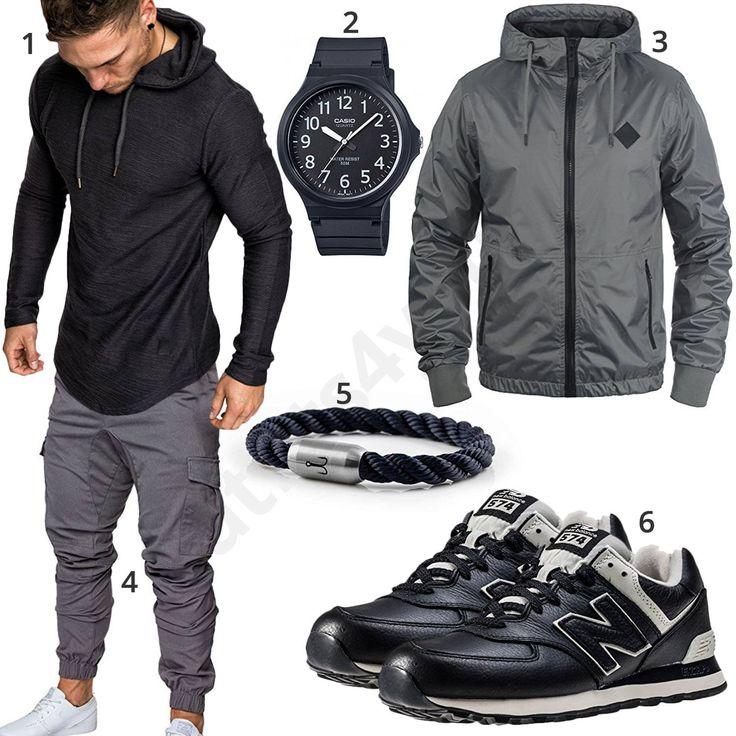 Street-Style mit Hoodie, Cargohose und Ledersneakern (m0720)