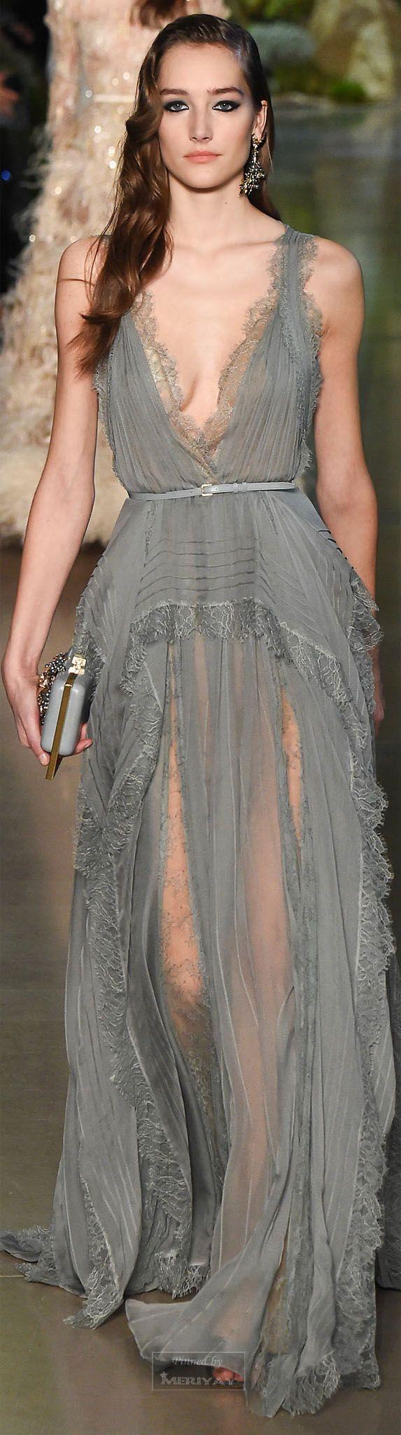 Flowy grey dress.. TD ❤️ Elie Saab.Spring 2015 Couture.