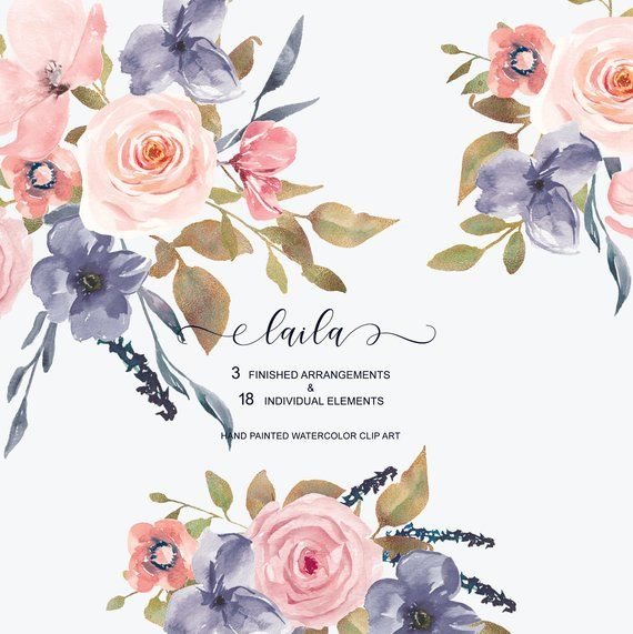 Hand Painted Watercolor Blush Roses With Gold Glittered Leaves