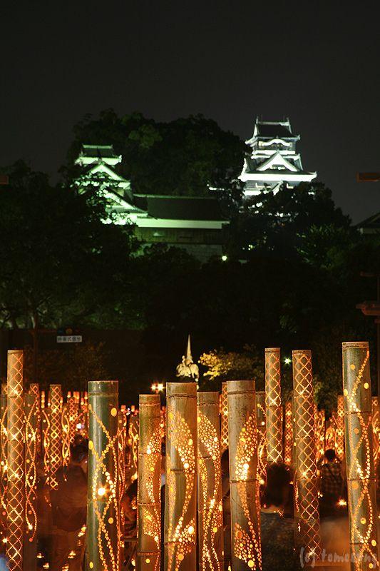 Bamboo lanterns and Kumamoto castle, Japan