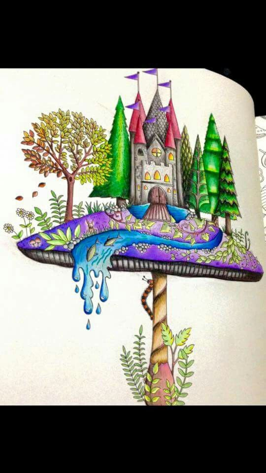 Enchanted Forest Coloring Book Mushroom Castle