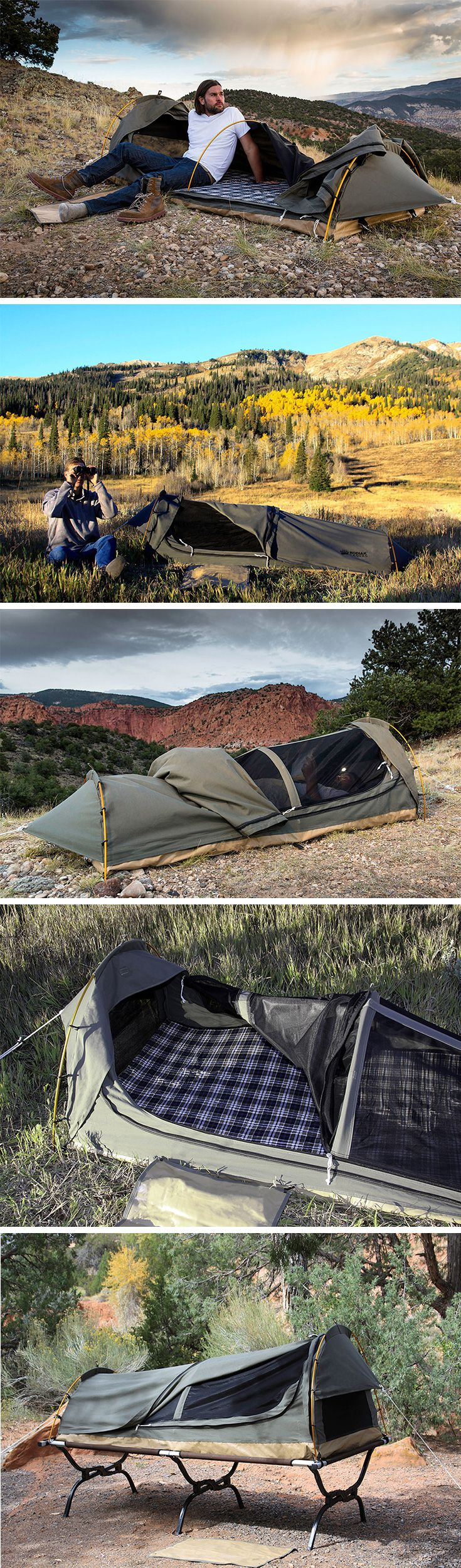 Perfect for spur-of-the-moment adventures, the Kodiak Canvas Swag Tent is compact camping you can count on! An evolution of the traditional bedroll, this single person, portable sleep system rolls up to the size of a backpack to go just about anywhere. Made of water-wicking cotton canvas, it's completely weatherproof. When it's time to go, the Swag packs up in no time! BUY NOW!