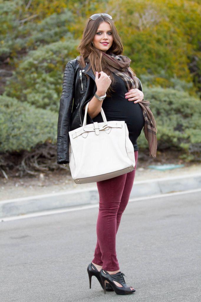 #BumpStyle // Moto Jacket & Burgundy Skinny Jeans   BondGirlGlam.com