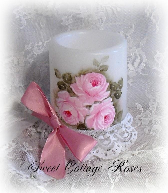 Sweet Hand Painted Roses Candle.  Yo can visit me on Facebook at:   https://www.facebook.com/SweetCottageRoses.