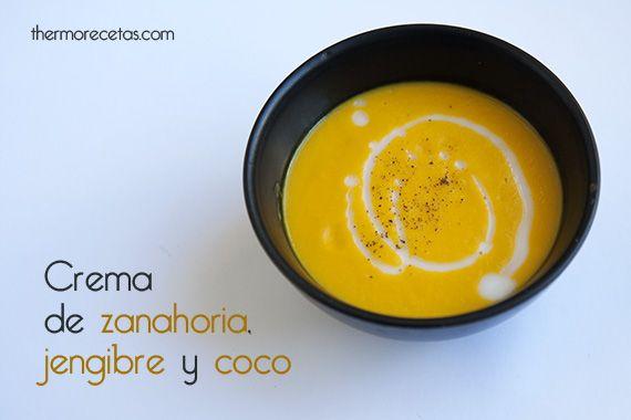 Receta para preparar una crema de zanahoria, jengibre y coco, un primer plato muy rico, bajo en calorías y fácil de preparar en muy poco tiempo.