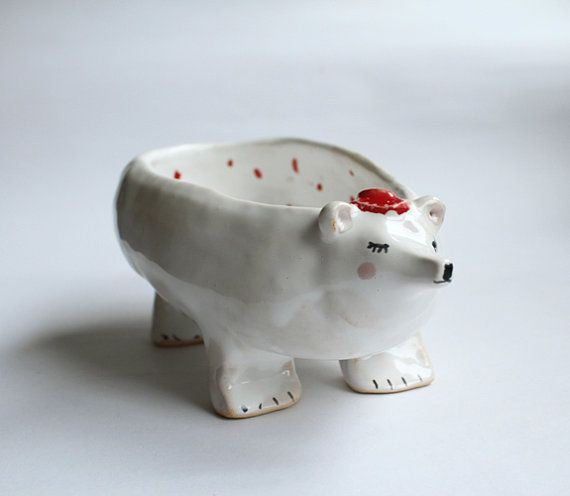 Polar bear ceramic bowl with red hat and red polka by clayopera, $39.00