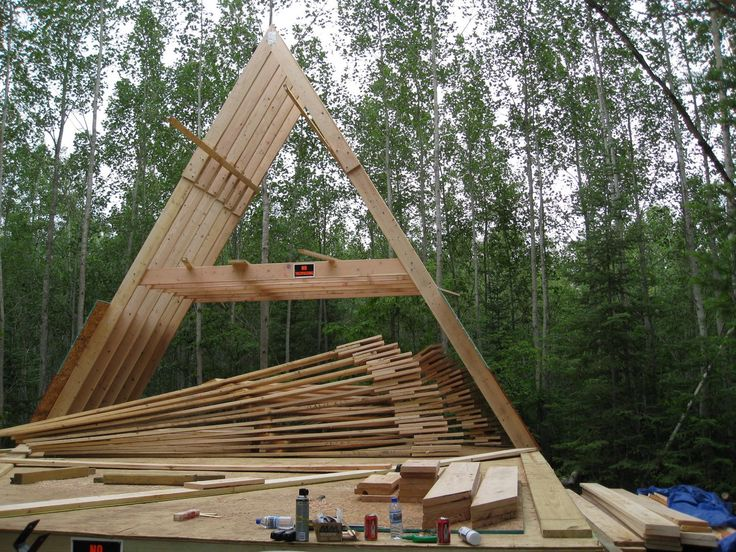 45 best a frame cabin house construction images on for Small cabin construction