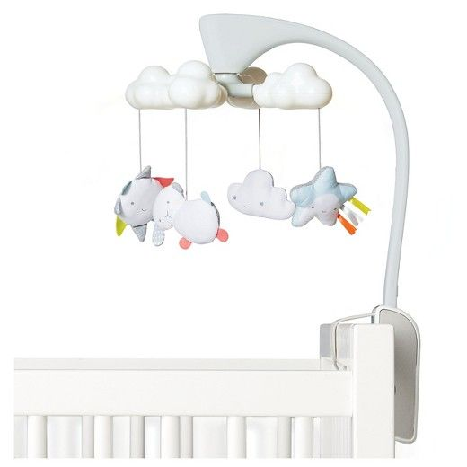 Oh, what a little moonlight can do!<br><br>Our baby mobile has a soft color palette and sleek look to coordinate with the modern nursery. While stars are projected on the ceiling, it lulls little one to sleep with gently glowing clouds along with eight total lullabies and nature sounds. Just use the light and sound combination that's right for your baby. A remote control allows you to restart the mobile after 20 minutes with the touch of a button, even from outside the nursery...