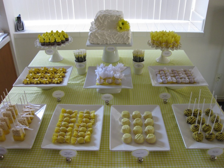 yellow-  cake balls, rice crispy dipped in yellow, flower sugar cookie