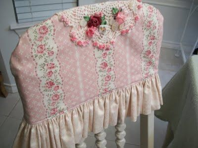Chairback covers...cute shabby chic cottage fabric with doiley and roses...so pretty